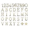 Imagem de Letras e números de bronze para lápides. Modelo romano. Acabamento branco e dourado